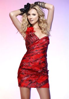One-Shoulder Red Printed Short Sheath Style Floral Beaded Cocktail Dress Dress P, Party Dress, Bodycon Dress, Scala Dresses, New Years Eve Dresses, Dresses 2014, Prom Dress Shopping, Short Prom, Homecoming Dresses