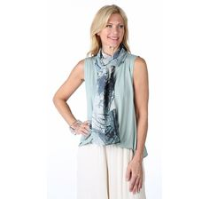 MarlaWynne Rayon Spandex Sleeveless Wrap Top