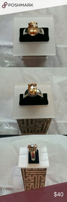 .925 Sterling silver ring with topaz colored stone New .925 Sterling silver ring with topaz colored stone   Size 6 ❤pictures are part of the description  ❤️No trades or off site transactions/communications ❤️Open to reasonable offers ❤️same day shipping Mon-Sat if purchased before 2:30pm central time  ❤️4.9 rating  ❤️Please ask questions all questions BEFORE buying. ❤PLEASE do not rate me on how the item fits you Jewelry Rings