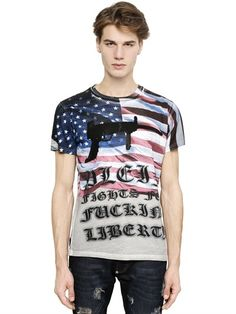 "PHILIPP PLEIN - ""FIGHT FOR LIBERTY"" COTTON JERSEY - LUISAVIAROMA - LUXURY SHOPPING WORLDWIDE SHIPPING - FLORENCE"