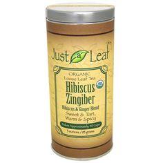 Just a Leaf Organic Tea, Hibiscus Zingiber, Hibiscus & Ginger Blend, Caffeine Free, 3 oz (85 g) - iHerb.com. Bruk gjerne rabattkoden min (CEC956) hvis du vil handle på iHerb for første gang. Da får du $5 i rabatt på din første ordre (eller $10 om du handler for over $40), og jeg blir kjempeglad, siden jeg får poeng som jeg kan handle for på iHerb. :-)