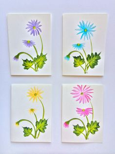 Hand Painted Daisies Greeting Cards Set of 4 by whimsNdaisies