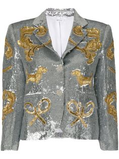 Shop Thom Browne Classic Single Breasted Sport Coat In Organza With Multi Icon Filigree Embroidery.
