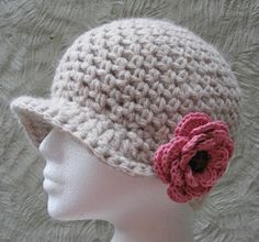 Crocheted newsboy hat from The Happy Crocheter