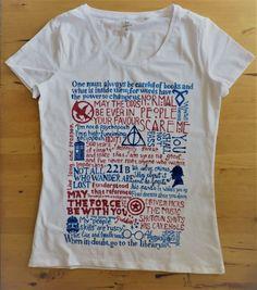 A diy multi-fandom T-shirt made by Ludmila Spilková 2017 #movie quotes #book quotes #fandom t-shirt