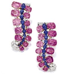 Pair of Pink Sapphire, Sapphire and Diamond Brooches, Cartier, Paris, circa 1950