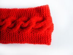 Red Knitted Headband  READY FOR SHIPPING  Knitted by FlosCaeli, $22.00