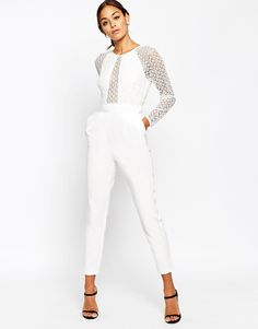 Image 4 ofASOS Premium Jumpsuit with Structured Lace Bodice