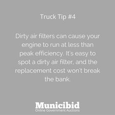 Make sure you are taking care of your air filters! It's an easy, cheap fix that can make your car run more efficiently. #OnlineAuction #Auction #ForSale #TruckTips #AirFilter #efficiency #CarCare #Trucks #DieselTruck #Auctions
