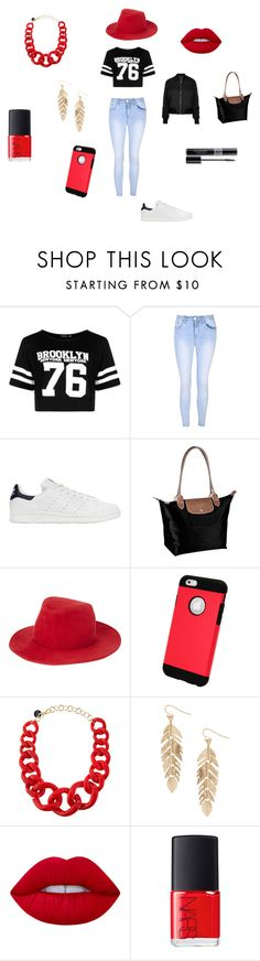 """back to school 4"" by lamisslove on Polyvore featuring mode, Boohoo, Glamorous, adidas Originals, Longchamp, rag & bone, Alisha.D, Humble Chic, Lime Crime et NARS Cosmetics"