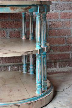 Southwest decor Vintage furniture side table end table painted furniture chalk painted furniture livingroom bedroom furniture entryway on Etsy, $165.00