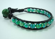 Green Beaded Leather Cord Bracelet by jewelsforhope on Etsy, $25.00