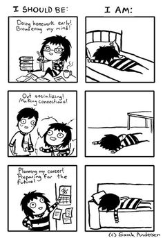 Sarah Andersen - Yet another completely relatable comic! Funny Quotes, Funny Memes, Hilarious, 9gag Funny, It's Funny, Funny Stuff, Sarah Anderson Comics, Sarah's Scribbles, Humor Grafico