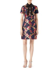 Floral+Brocade+Dress,+Blue/Multicolor+by+Gucci+at+Neiman+Marcus.