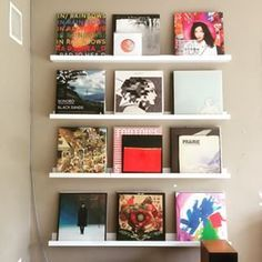 What if you want to show off your vinyl art? Try turning your collection outward on a series of shelves. | 15 Fun And Useful Vinyl Storage Ideas