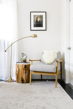 "warm modern reading nook with brass lamp and midcentury chair via <a href=""/citysage/"" title=""Anne Sage"">@Anne Sage</a> http://annesage.com/2016/08/05/bedroom-makeover-with-pottery-barn/"
