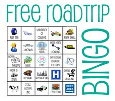 Free bingo cards, a fun family game for the car. The pin links to a pdf with 10 cards!
