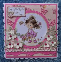 ink'n'rubba Wee Stamps little Peggy coloured with Copics. paper, lace and die cuts by Marianne Design
