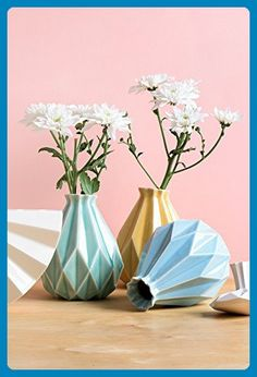 Geometric Flower Vase,Your Choice of Yellow / Light Blue / Light Green , Origami Inspired, Handmade of Ceramic - Wedding table decor (*Amazon Partner-Link)