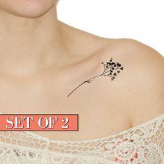 Tatuaje temporal - negro, Floral, flor, silueta, tinta, arte, falso tatuaje, flores silvestres. H11