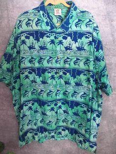 Rum Reggae Batik Shirt 4X Swordfish Wearable Art Resort Fishing Navy Green Rod #RumReggae