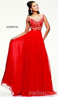 Red Evening Gown, Sherri Hill Long Red Dress- PromGirl This is my dress but in green :)