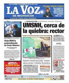 #FelizJueves ¡Buenos días! No te pierdas la edición impresa de La Voz de Michoacán de este jueves 17 de noviembre: