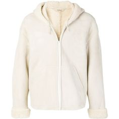 Yeezy Shearling Lined Jacket ($1,500) ❤ liked on Polyvore featuring outerwear, jackets, white, shearling jacket, shearling lined jacket and white jacket