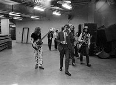 backstage at the Forum with Led Zeppelin, 4 September 1970-despite the wild reputation rumoured to surround them, these lads were a pretty tight knit group, having no groupies, fans or media with them during recording sessions.