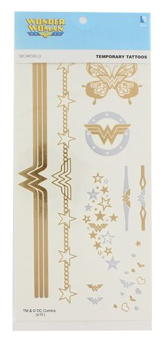 Celebrate your favorite superhero with this stylish DC Comics Temporary Tattoo Sheet! Included are multiple designs (as shown in picture) on one long hard card stock sheet. Complete directions are on