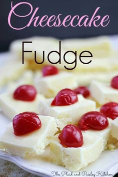 Cheesecake Fudge~ How could you resist? Amazing Fudge that is so easy! Cheesecake Fudge Recipe, Delicious Fudge Recipe, Chocolate Chip Cheesecake, Fudge Recipes, Candy Recipes, Sweet Recipes, Delicious Desserts, Dessert Recipes, Yummy Food