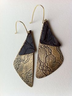 Brass Dangle Earrings with Recycled Leather, Handmade, Stamped Metal, Textured Brass Earrings