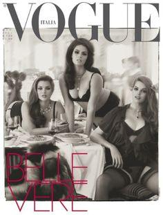 Portada de Vogue Italia protagonizada por tres top models de tallas grandes y fotografiada por Steven Meisel