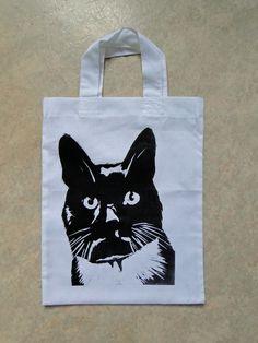Black  White Cat Lino-Printed Hand Printed Mini Tote Shopping Bag Children £5.00
