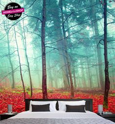 Mystic autumn foggy  trees - wall art decor - Removable Self Adhesive peel and stick wallpaper / wall mural  #45