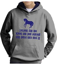TWO TONE Heather Grey/Navy Hoodie 'IF YOU CAN READ THIS PEASE PUT ME BACK ON MY HORSE' with Pearlescent Blue Print.