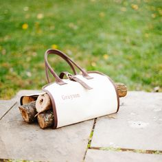 Monogrammed canvas log carrier
