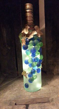 no cord! light up decorative grape wine bottle by ninasoriginals on Etsy
