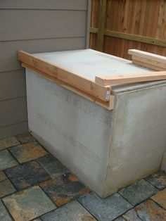 """Outside Concrete Countertop, perfect spot for the BBQ! This would work great on the """"patio expansion"""" project!"""