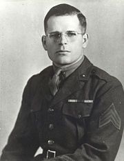 Grant Timmerman-The sergeant had been firing the tank's antiaircraft gun during the vigorous attack but when progress was halted, he prepared to fire the 75 mm gun. Exposing himself to the enemy, he stood up in the open turret of his tank to warn the infantry to hit the deck because of the muzzle blast of the 75 mm. A Japanese grenade came hurtling through the air aimed in the direction of the open turret. Sgt Timmerman fearlessly covered the opening with his own body to prevent the grenade