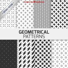 Padrões geométricos na cor preto e branco