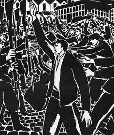 Frans Masereel - protagonist leading a worker's revolt