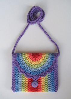 Crochet bag, Rainbow bag, Pattern in both UK and US crochet terms Crochet Shell Stitch, Crochet Motifs, Crochet Bag Tutorials, Crochet Handbags, Crochet Purses, Crochet Bags, My Other Bag, Rainbow Bag