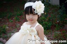 Flower girl dress Ivory Vintage with Pearls by giselleboutique