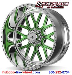 American Force Fallout Polished Wheels w/ Custom Painted Green & Black Removable Aluminum Face Plate Truck Rims, Truck Tyres, Truck Wheels, Car Rims, Rims And Tires, Rims For Cars, Wheels And Tires, Denali Truck, Corvette Wheels