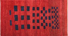 Red Gabbeh rug from Iran. Minimalist, thick and beautiful!