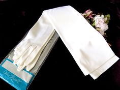 Bridal Gloves Opera Length in White with Pearls from Van Raalte NIP by EyeSpyGoods on Etsy