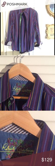 🍧🍧 Mens's Robert Graham fancy stripe shirt. From my Robert Graham collection. Handsome stripes in shades I of purple, wine, pink, blue, black and lime green. Button front placket tape in lime green. Fancy houndstooth cuff. All in true ROBERT GRAHAM FASHION. SIZE XL.  All cotton. Bundle and safe. Reasonable offers considered. EUC. Robert Graham Shirts Dress Shirts