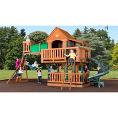 Adventure Playsets Woodridge Deluxe Swing Set with Spiral Slide  $1700, shipping included.  Also available at Lowes.