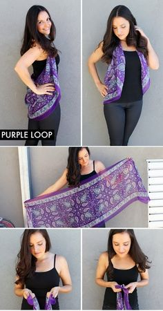 Definitely the easiest one on here, the purple loop is just that. A purple loop! Tie to ends of a scarf together and wear as a vest. Who k...